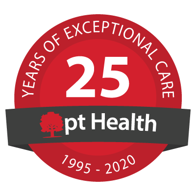 pt Health 25 year anniversary badge