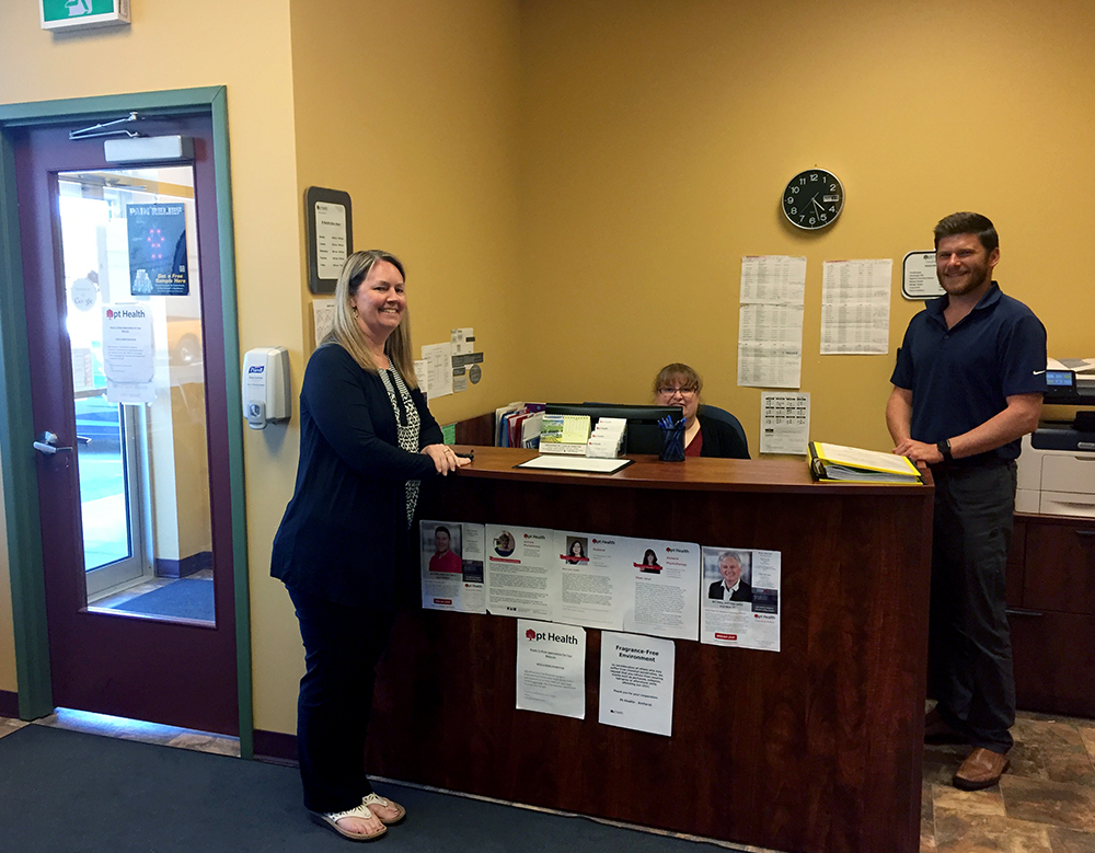 Photograph of pt Health Amherst reception desk