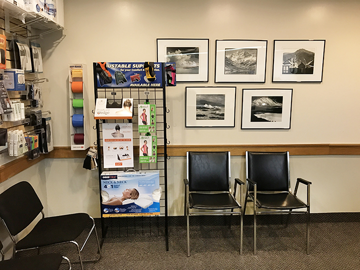 Photograph of the waiting area at Limeridge Physiotherapy showing a selection of health and wellness products
