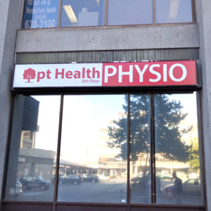 Burnaby Physiotherapy And Hand Therapy - pt Health - Exterior shot of clinic focusing on signage