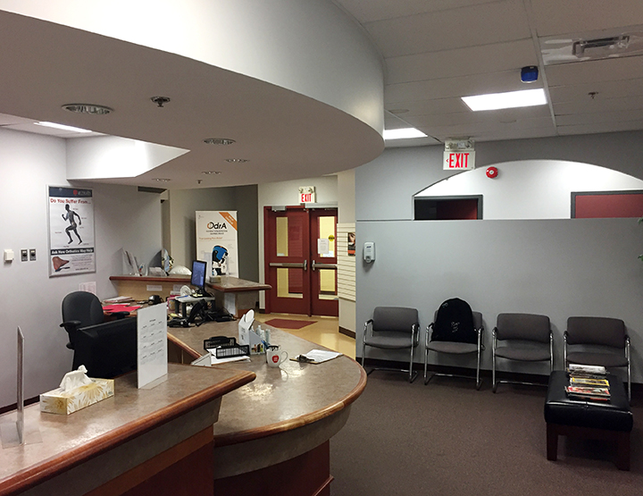 Photograph of waiting room and reception area at Cole Harbour Physiotherapy pt Health