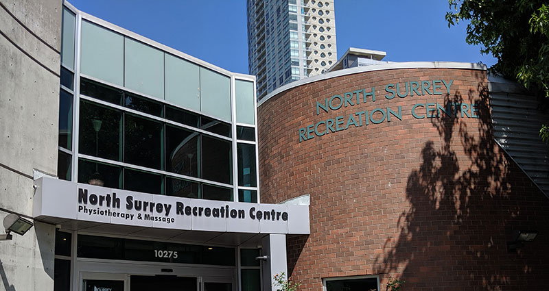 photo of North Surrey Recreation Centre building exterior where pt Health Surrey at the REC is located