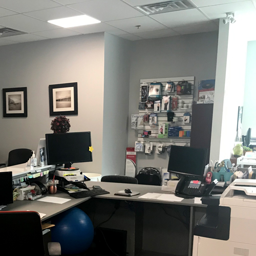 photo of pt health barrie physiotherapy reception desk and product board