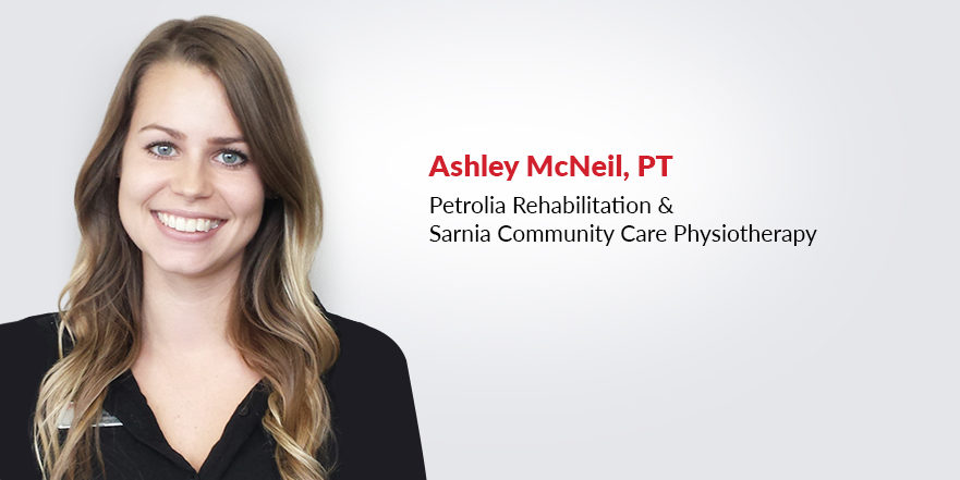 Ashley McNeil physiotherapist and Clinic Team Manage at Petrolia Rehabilitation is pictured on a white background.