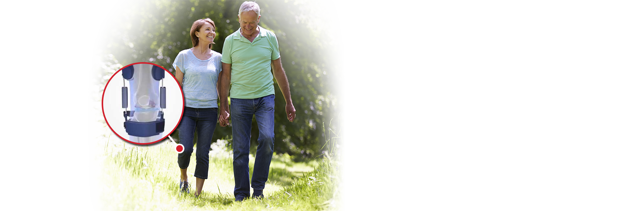 Elderly couple taking a walk through the park, with zoom-in on knee brace worn by woman