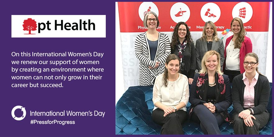 photo of pt Health Directors and CEO inset in a International Women's Day Pledge Card