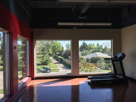 Photo of Nose Hill Park Physiotherapy treadmill by window in Calgary