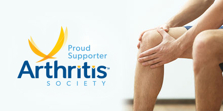 photograph of knee osteoarthritis client holding their knee with The Arthritis Society of Canada logo to the left