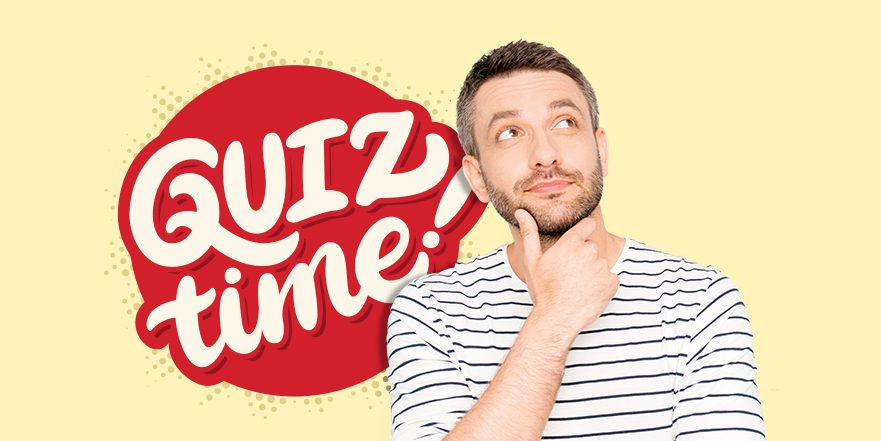 "Image of a man pondering in front of text that says ""Quiz Time"""