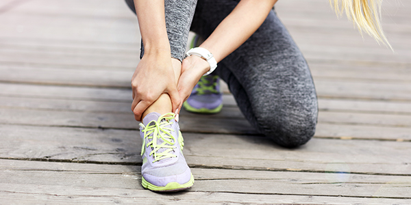 Image of a woman with an ankle sprain.