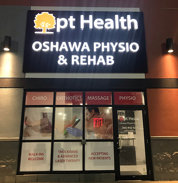 photo of pt health oshawa physio and rehab exterior front nighttime