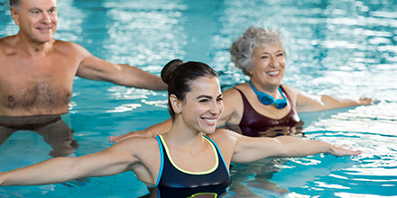 photograph of a physiotherapist led pool therapy class for low impact rehabilitation